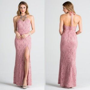 Embellished Neck Lace Bodycon Gown